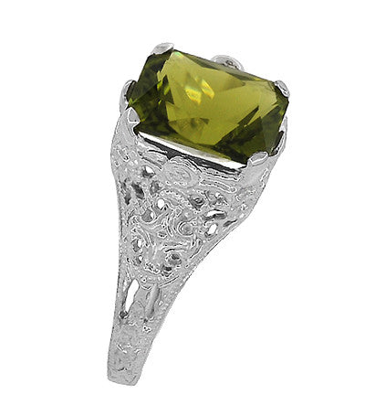 Edwardian Filigree Radiant Cut Olive Green Peridot Ring in Sterling Silver | 3.5 Carats - Item: SSR618PER - Image: 5