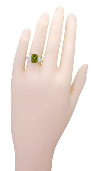Edwardian Filigree Radiant Cut Olive Green Peridot Ring in Sterling Silver | 3.5 Carats - Item: SSR618PER - Image: 6