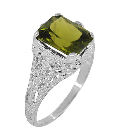 Edwardian Filigree Radiant Cut Olive Green Peridot Ring in Sterling Silver | 3.5 Carats - Item: SSR618PER - Image: 1