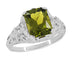 Edwardian Filigree Radiant Cut Olive Green Peridot Ring in Sterling Silver | 3.5 Carats
