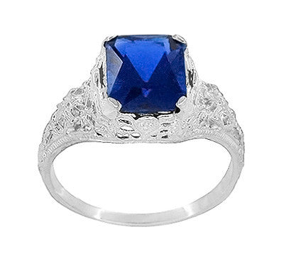 Edwardian Filigree Lab Created Blue Sapphire Ring in Sterling Silver | Radiant Cut 3.75 Carat Sapphire Statement Ring - Item: SSR618S - Image: 2