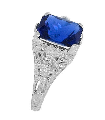 Edwardian Filigree Lab Created Blue Sapphire Ring in Sterling Silver | Radiant Cut 3.75 Carat Sapphire Statement Ring - Item: SSR618S - Image: 4