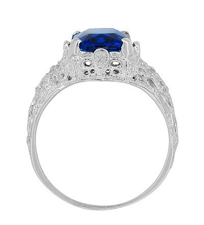 Edwardian Filigree Lab Created Blue Sapphire Ring in Sterling Silver | Radiant Cut 3.75 Carat Sapphire Statement Ring - Item: SSR618S - Image: 5