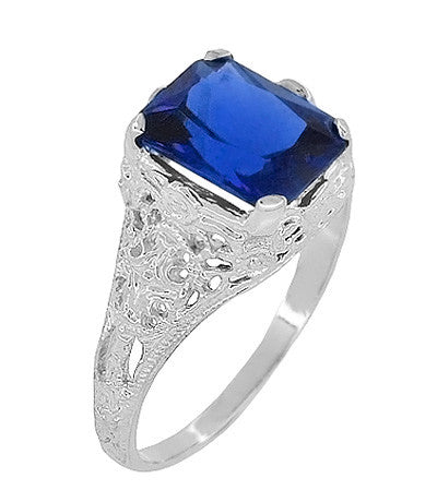 Edwardian Filigree Lab Created Blue Sapphire Ring in Sterling Silver | Radiant Cut 3.75 Carat Sapphire Statement Ring - Item: SSR618S - Image: 1
