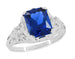 Edwardian Filigree Lab Created Blue Sapphire Ring in Sterling Silver | Radiant Cut 3.75 Carat Sapphire Statement Ring