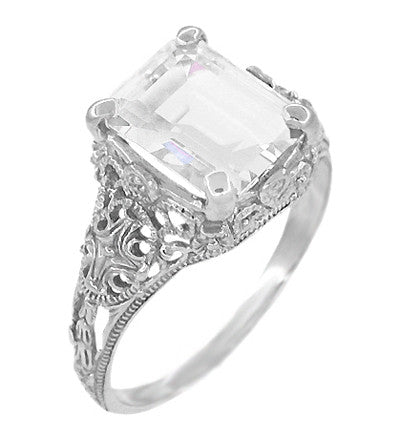 Edwardian Filigree Emerald Cut White Topaz Ring in Sterling Silver - Item: SSR618WT - Image: 1