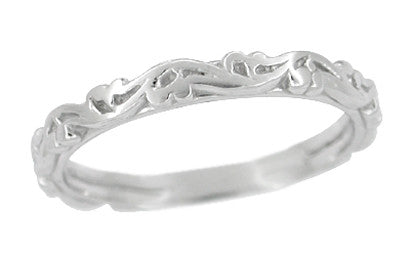 Art Deco Grooved Antique Scrolls Wedding Band in Sterling Silver