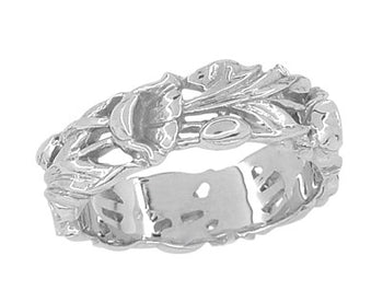Filigree Lilies Eternity Floral Band in Sterling Silver - 6mm Wide