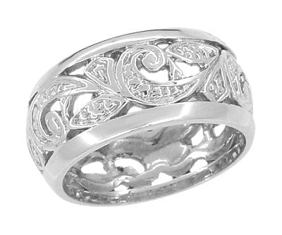Retro Moderne Scrolls and Leaves Filigree Wide Band Ring in Sterling Silver | 8.5mm Wide