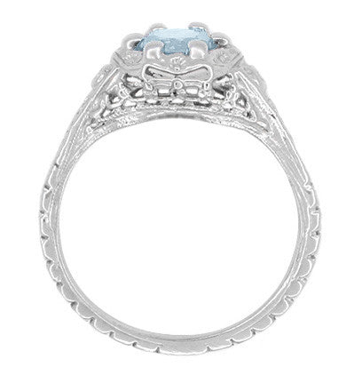 Art Deco Filigree Flowers Aquamarine Promise Ring in Sterling Silver - Item: SSR706A - Image: 2