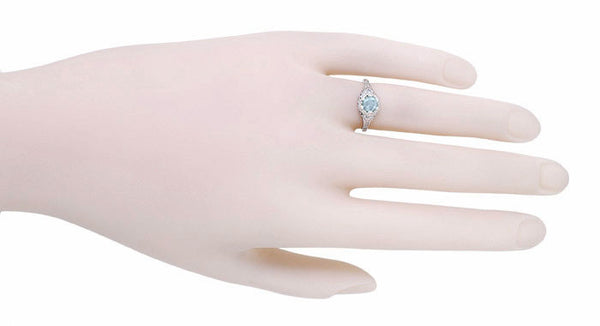 Art Deco Filigree Flowers Aquamarine Promise Ring in Sterling Silver - Item: SSR706A - Image: 3