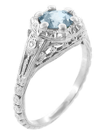 Art Deco Filigree Flowers Aquamarine Promise Ring in Sterling Silver - Item: SSR706A - Image: 1