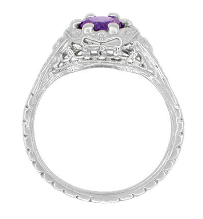 Art Deco Filigree Flowers Amethyst Promise Ring in Stering Silver - Item: SSR706AM - Image: 2