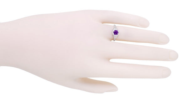 Art Deco Filigree Flowers Amethyst Promise Ring in Stering Silver - Item: SSR706AM - Image: 3