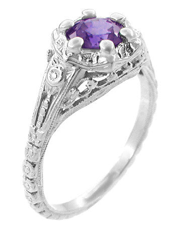 Art Deco Filigree Flowers Amethyst Promise Ring in Stering Silver - Item: SSR706AM - Image: 1