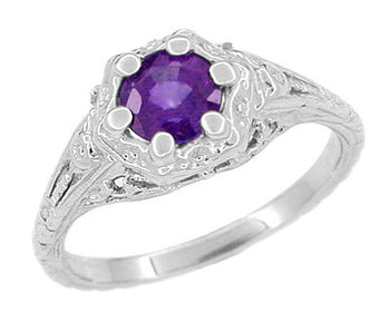 Art Deco Filigree Flowers Amethyst Promise Ring in Sterling Silver