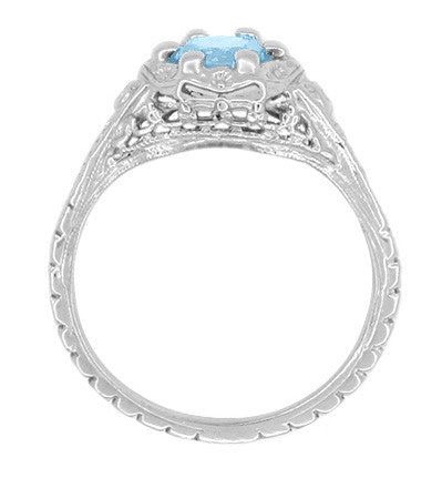Art Deco Filigree Flowers Blue Topaz Promise Ring in Sterling Silver - Item: SSR706BT - Image: 2