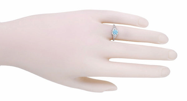 Art Deco Filigree Flowers Blue Topaz Promise Ring in Sterling Silver - Item: SSR706BT - Image: 3