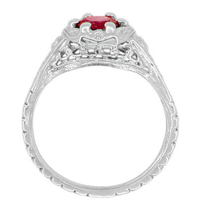 Art Deco Filigree Flowers Ruby Promise Ring in Sterling Silver - Item: SSR706CR - Image: 2