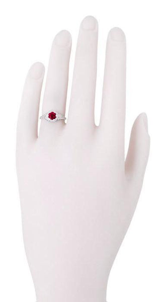 Art Deco Filigree Flowers Ruby Promise Ring in Sterling Silver - Item: SSR706CR - Image: 3