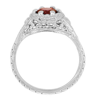 Art Deco Filigree Flowers Almandine Garnet Promise Ring in Sterling Silver - Item: SSR706G - Image: 2