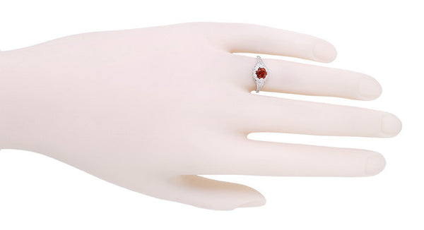 Art Deco Filigree Flowers Almandine Garnet Promise Ring in Sterling Silver - Item: SSR706G - Image: 3