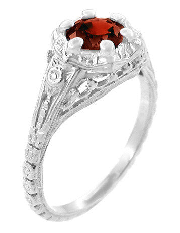 Art Deco Filigree Flowers Almandine Garnet Promise Ring in Sterling Silver - Item: SSR706G - Image: 1