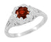 Art Deco Filigree Flowers Almandine Garnet Promise Ring in Sterling Silver