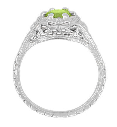 Art Deco Filigree Flowers Sterling Silver Peridot Promise Ring - Item: SSR706P - Image: 2