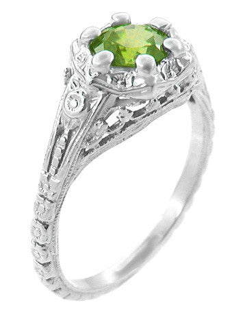Art Deco Filigree Flowers Sterling Silver Peridot Promise Ring - Item: SSR706P - Image: 1