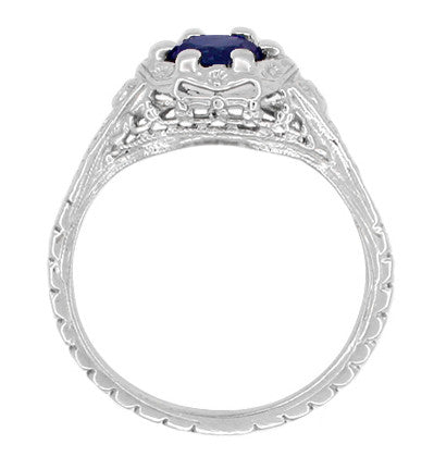 Art Deco Filigree Flowers Blue Sapphire Promise Ring in Sterling Silver - Item: SSR706S - Image: 2
