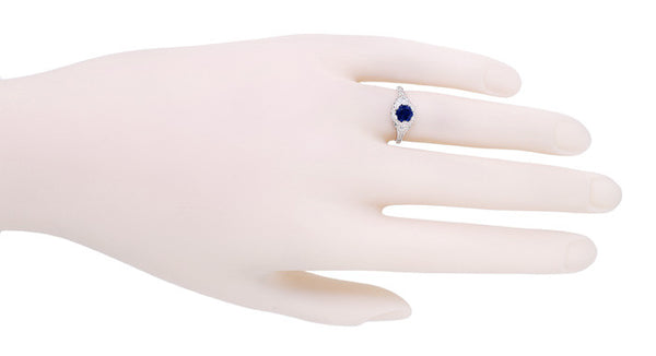 Art Deco Filigree Flowers Blue Sapphire Promise Ring in Sterling Silver - Item: SSR706S - Image: 3