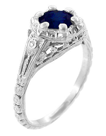 Art Deco Filigree Flowers Blue Sapphire Promise Ring in Sterling Silver - Item: SSR706S - Image: 1