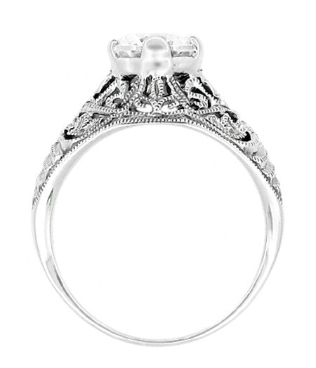 Antique Style Edwardian Filigree Engraved Cubic Zirconia ( CZ ) Promise Ring in Sterling Silver - Item: SSR9 - Image: 2