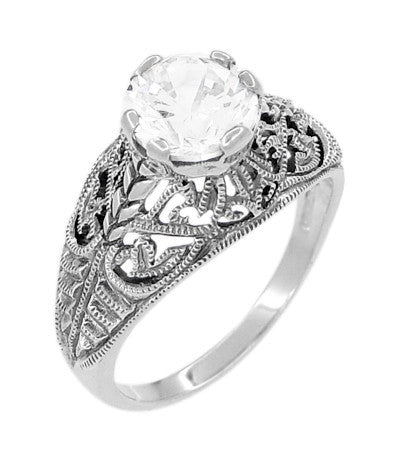 Antique Style Edwardian Filigree Engraved Cubic Zirconia ( CZ ) Promise Ring in Sterling Silver - Item: SSR9 - Image: 1