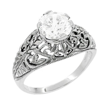 Antique Style Edwardian Filigree Engraved Cubic Zirconia ( CZ ) Promise Ring in Sterling Silver
