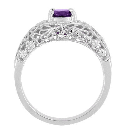 Edwardian Filigree Flowers Amethyst Dome Promise Ring in Sterling Silver - Item: SSRV16A - Image: 1
