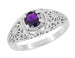 Edwardian Filigree Flowers Amethyst Dome Promise Ring in Sterling Silver