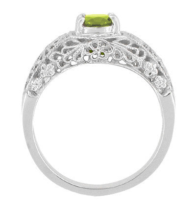 Edwardian Flowers Filigree Peridot Promise Ring in Sterling Silver - Item: SSRV16PER - Image: 1