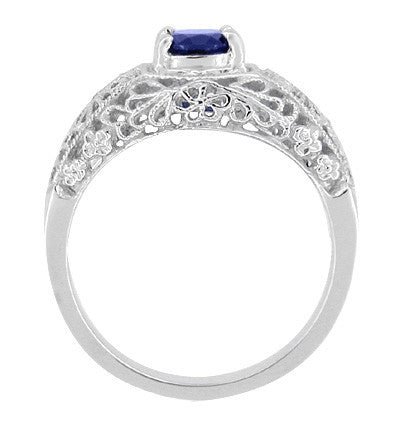 Edwardian Floral Filigree Blue Sapphire Dome Promise Ring in Sterling Silver - Item: SSRV16S - Image: 1