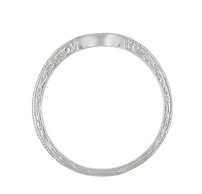 Art Deco Scrolls Engraved Curved Wedding Band in Sterling Silver - Item: SSWR199 - Image: 4