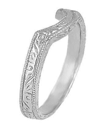 Art Deco Scrolls Engraved Curved Wedding Band in Sterling Silver - Item: SSWR199 - Image: 1