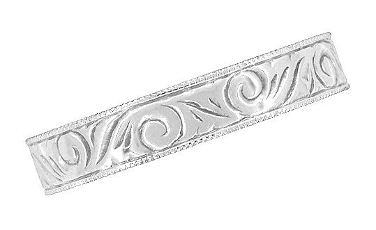 Art Deco Scrolls Engraved Wedding Band in Sterling Silver - 4mm Wide - Item: SSWR199MW - Image: 4