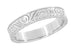 Art Deco Scrolls Engraved Wedding Band in Sterling Silver - 4mm Wide