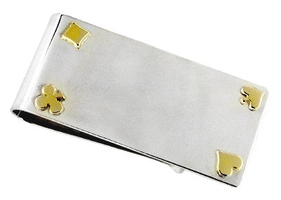 Sterling Silver Money Clip with 14 Karat Gold Card Suits Accents