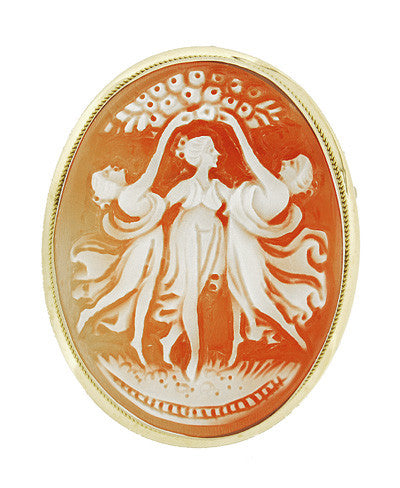 Three Graces Cameo Pin or Pendant Brooch - 35mm 14K Gold Frame Made In Italy Heirloom CA2