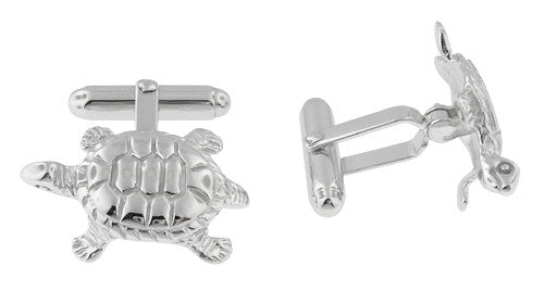 Tortoise Cufflinks in Sterling Silver - Item: SCL105 - Image: 1
