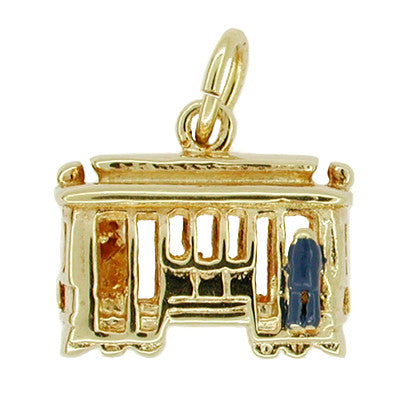 Trolley Car Charm in Enamel and 14 Karat Gold