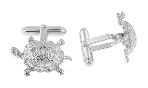 Turtle Cufflinks in Sterling Silver - Item: SCL129 - Image: 1