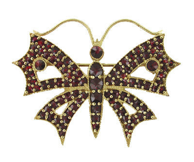 Victorian Bohemian Garnet Butterfly Brooch in Yellow Gold Vermeil Over Sterling Silver